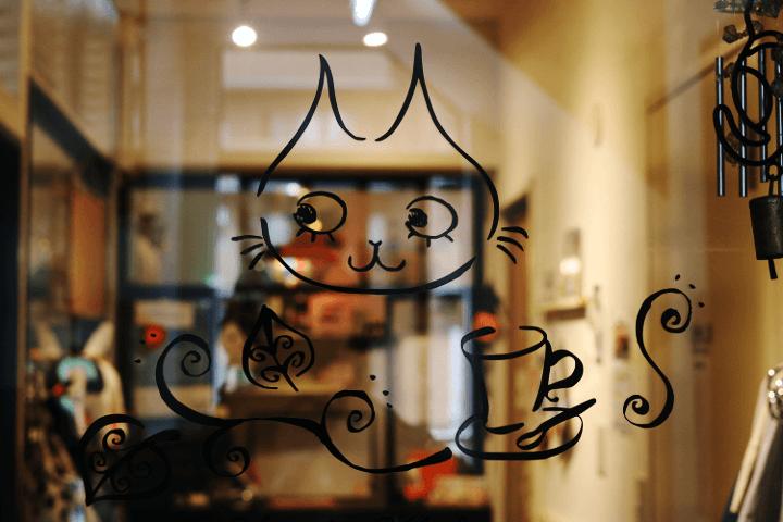 ニャフェ・メランジェではエントランスから可愛いイラストでお出迎え♪|Nyafe Melange